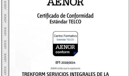 AENOR certifica a Trekform para impartir cursos TELCO